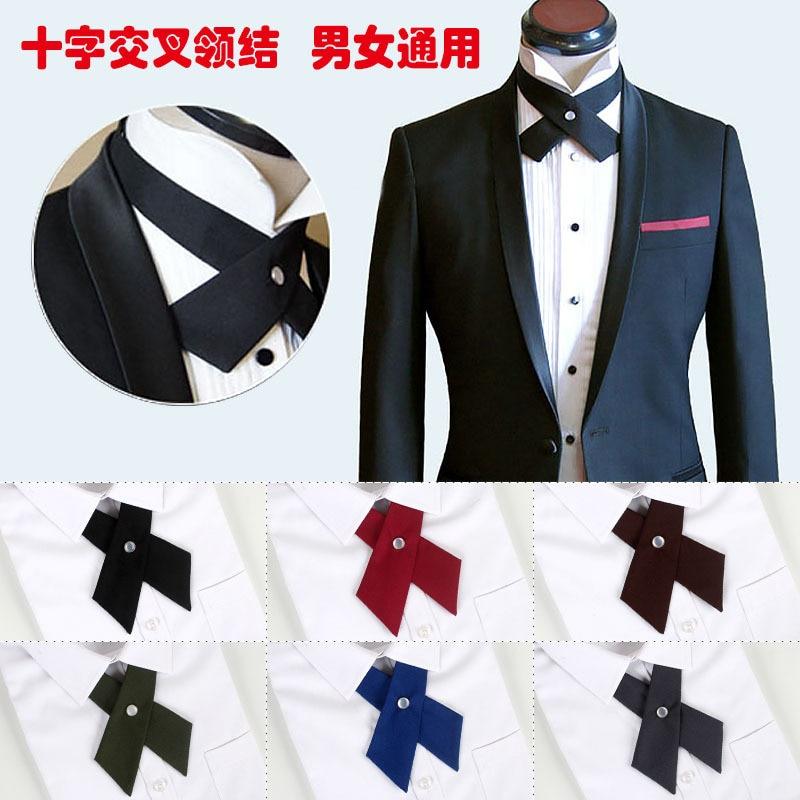 Cross Bow Ties For Men Women Solid Business Casual Cross Tie Formal Dress Men Wedding Metal Collar Cross Bowtie Butterfly