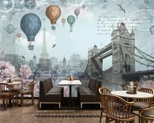 beibehang Modern fashion high decorative painting wallpaper retro British wind hot air balloon background wall papers home decor(China)