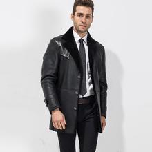 Men s Luxury Genuine Fur Coat Men s Shearling Leather Long Jacket Fashion Sheepskin Lapel Outerwear