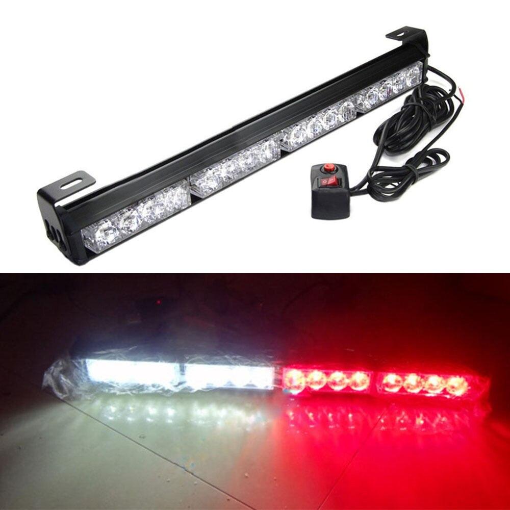 CYAN SOIL BAY 16 LED Red White Emergency Warning Light Bar Traffic Advisor Strobe Flash Lamp Flashing 45CM
