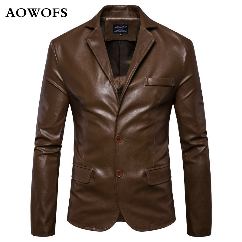 2018 New England Mens Leather Coat 2 Button Formal Dress Suits Fashion Man Blazers Brown Solid Motorcycle Coat Suede Jacket Male
