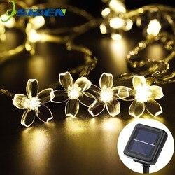 Flor de pêssego Levou Luz solar Cordas Luz 5M 7M Impermeável Ao Ar Livre Iluminação Da Decoração XAMS Fariy Luzes De Natal Jardim