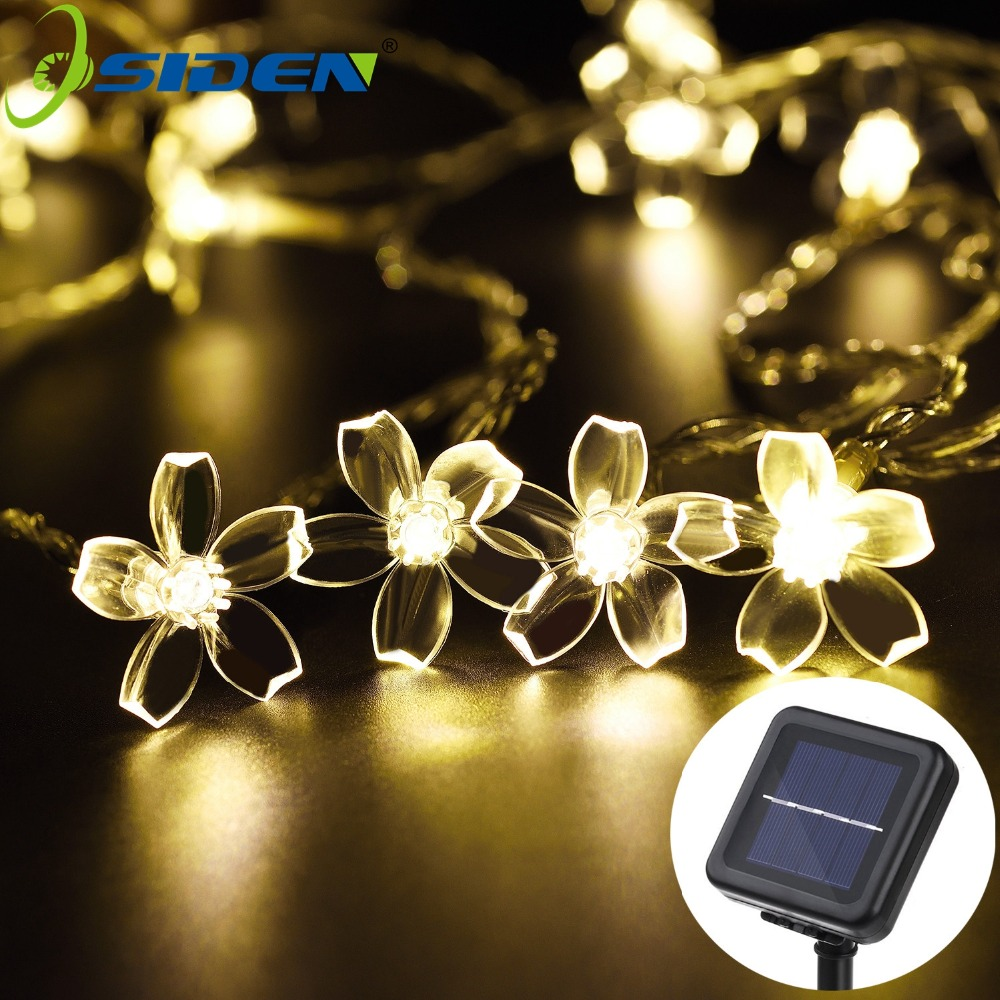 Peach Flower Led Solar Lamp Strings Light  5M 7M  Outdoor Waterproof Decoration Lighting XAMS Fariy Christmas Lights Garden