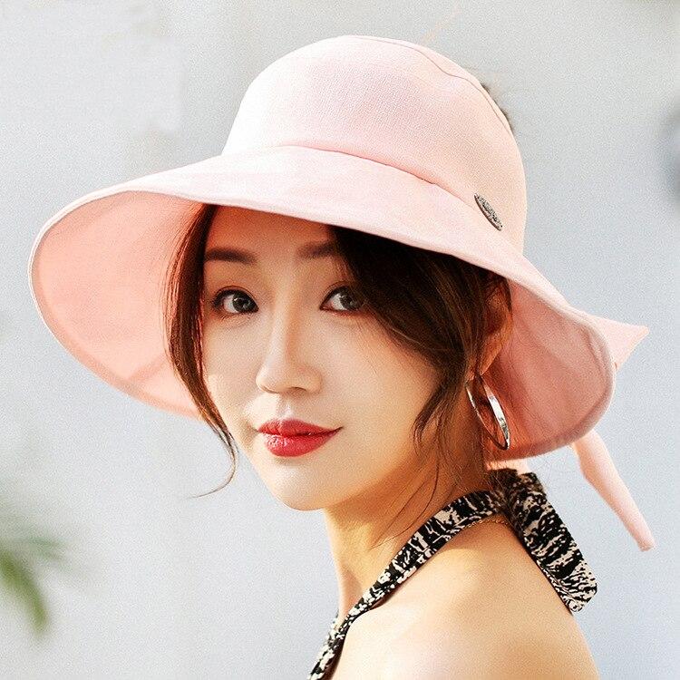 Summer Bill Flap Cap UPF 50+ Cotton Sun Hat For Women Large Brim Bowknot Beach Hat Caps  chapeu feminino praia chapeau femme