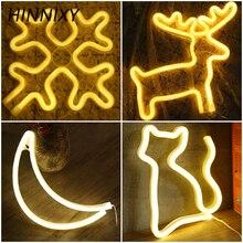 Hinnixy 3D LED Night Light Олень Cat Bat Moon Снежинка Белл Форма Настольная Лампа USB Батарея