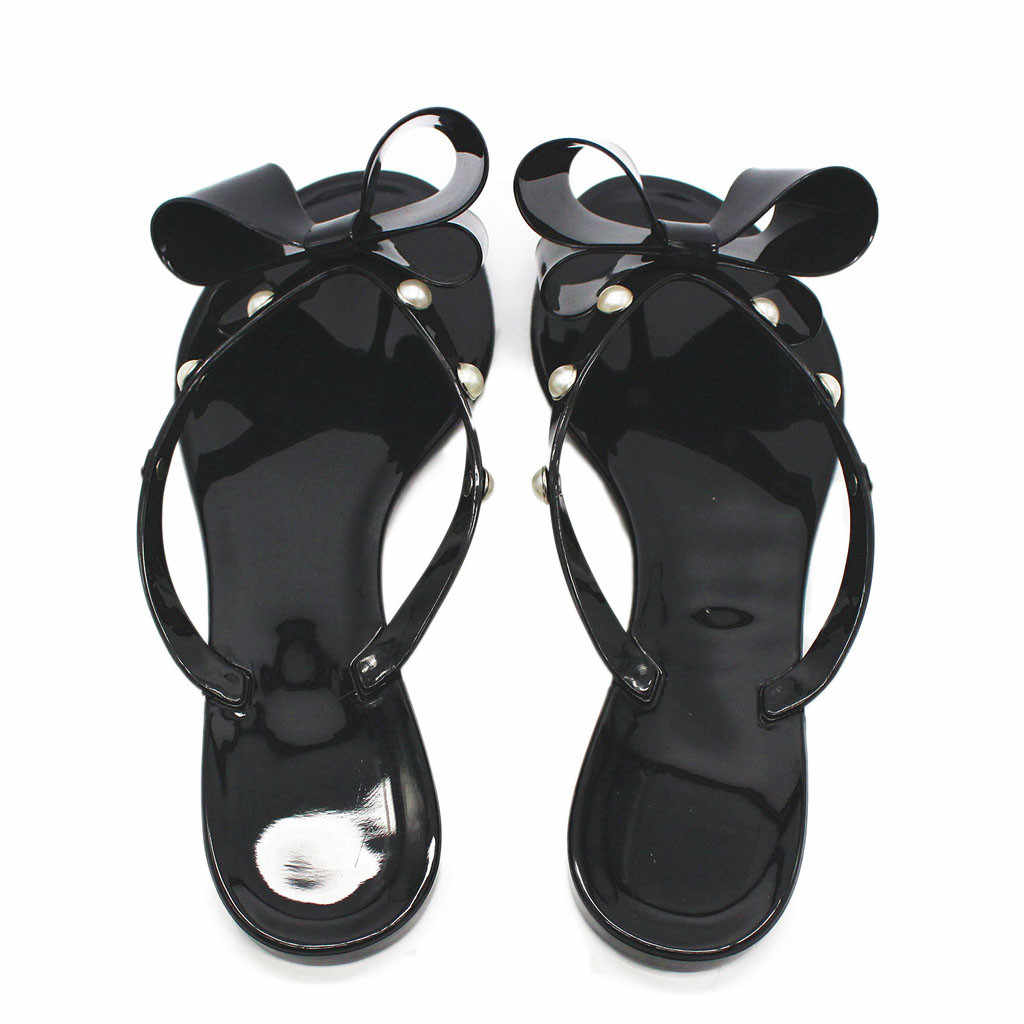 KLV ファッションサンダル靴女性ボウフリップフロップ通気性サンダルビーチフラット雨ゼリー靴 Zapatos デ Mujer Sandalias Mujer