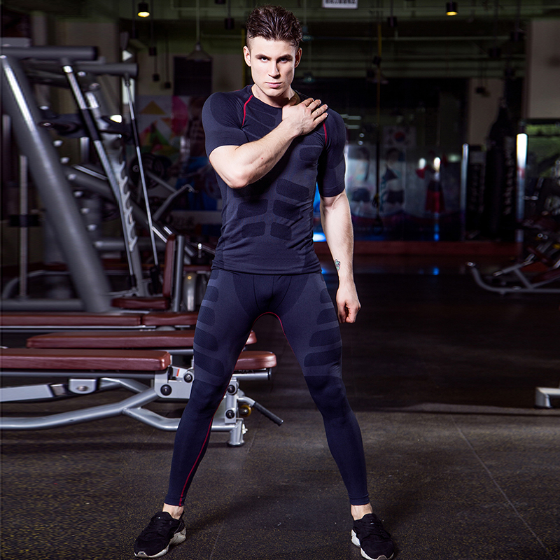 LoRun font b Mens b font Tracksuit Compression Sport Suit Fitness Gym Short Sleeves T font