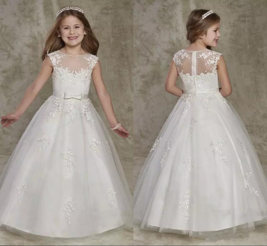 New Cute Flower Girl Dresses Sheer Crew Neck Lace Appliques Zipper Back Long A Line Girls Pageant Gown Custom any size sheer neck lace beaded new flower girl