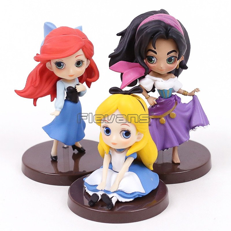 Q Posket Characters The Little Mermaid Ariel Alice in Wonderland Esmeralda PVC Figures Toys Princesses Dolls 3pcs/set the little old lady in saint tropez