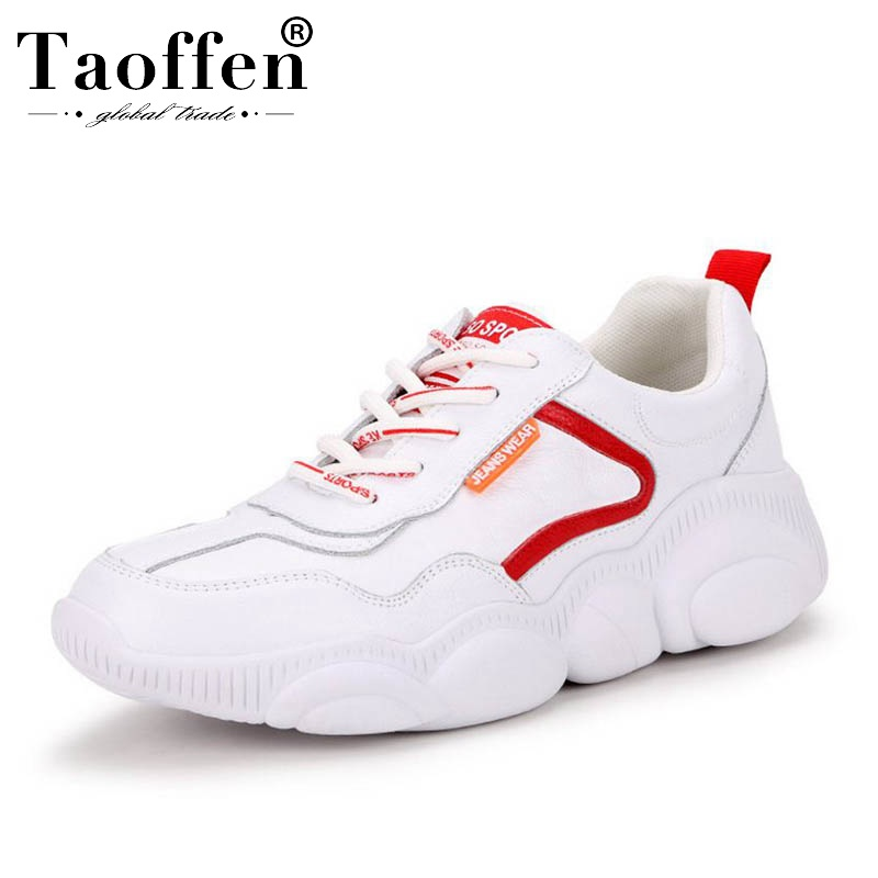 Taoffen Genuine Leather Fashion Simple White Shoes Women Sneakers Vulcanized Shoes Daily Walking Dating Casual Shoes Size 35-39Taoffen Genuine Leather Fashion Simple White Shoes Women Sneakers Vulcanized Shoes Daily Walking Dating Casual Shoes Size 35-39