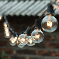 European Style G40 Christmas String Light With Black Cable 10Meters 20bulbs 4M Lead Wire For Garden
