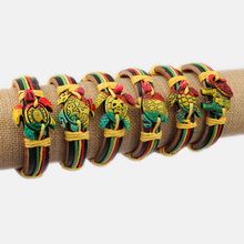 2Pcs Mixed Color Yak Bone Tribal Sea Surfer Charm Tortoise Turtle Leather Bracelet Cool Hawaiian surf Turtles Gifts