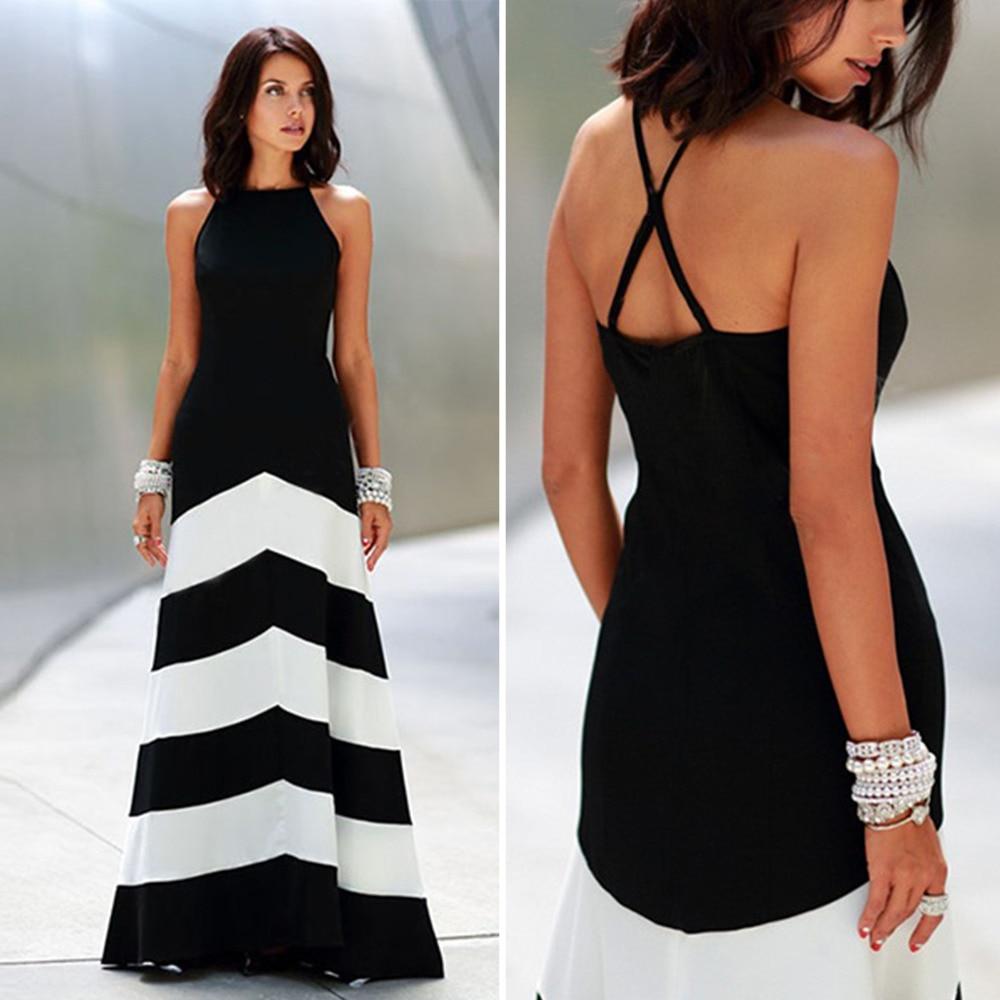 Elegant Women Chevron Maxi Dress Blockcolor High Neck Halter Strap ...
