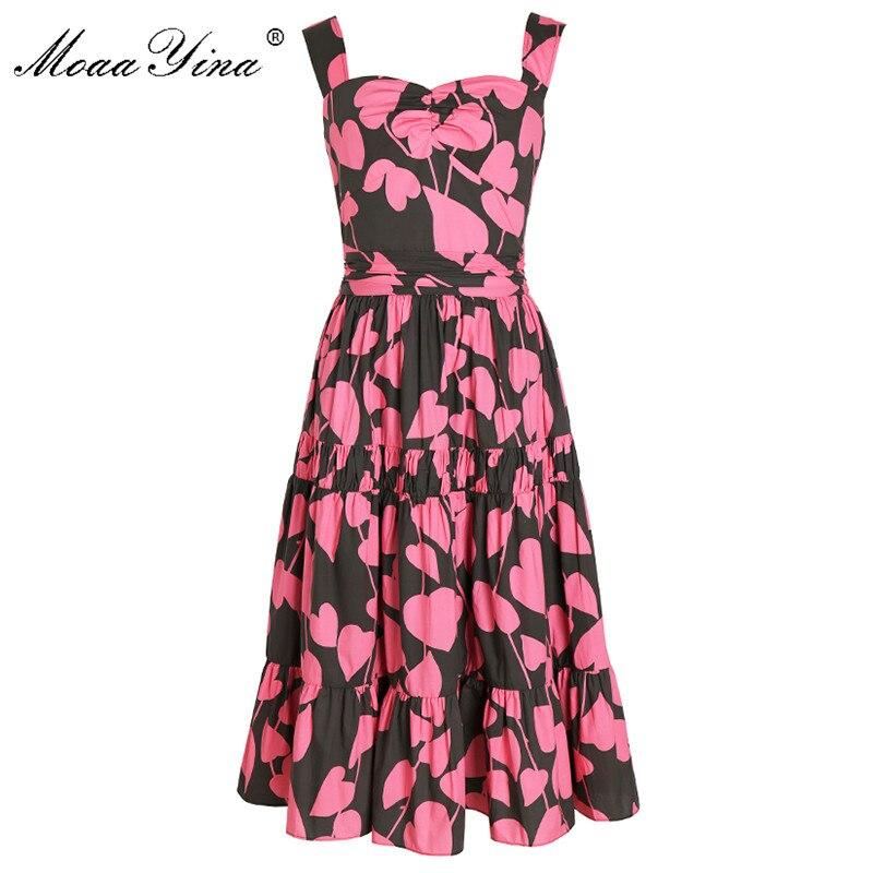 Kadın Giyim'ten Elbiseler'de MoaaYina Moda Tasarımcı Pist elbise İlkbahar Yaz Kadın Pamuklu Elbise Spagetti Kayışı Çiçek Baskı Tatil Elbiseler'da  Grup 1