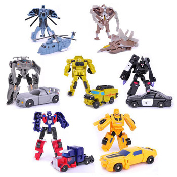 цена на Transformation Mini Cars Kid Classic Robot Car Toys For Children Action &Toy Figures Plastic Education Deformation Boys Gifts