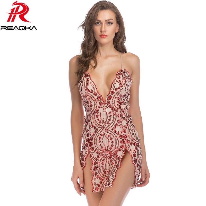 Sexy Strap Sequins Summer Dress Women V neck Backless Elegant Luxury Black  Red White Gold Nightclub Party Dresses Vestidos 2018 edd22a9cf628