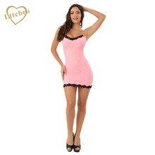 Pink Sexy Lingerie Babydoll Halter Neck Chemise Mini Dress Sleepwear Women Underwear With Black Lace Trim NightWear Clubwear