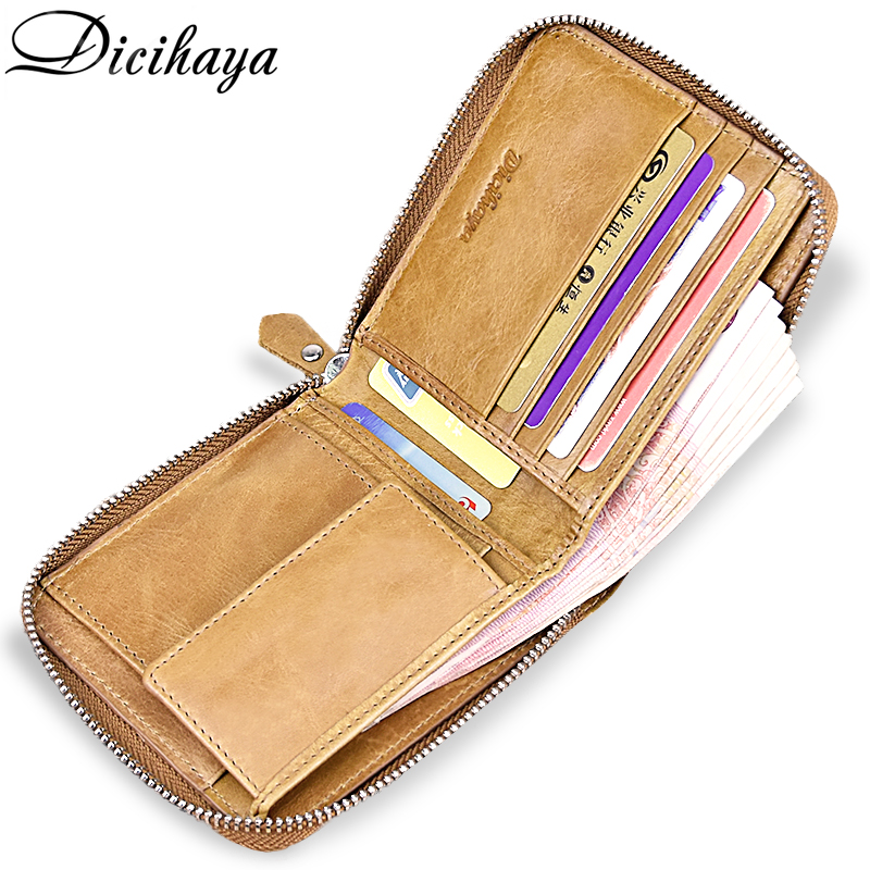 DICIHAYA Genuine Leather Men Wallet Male Purse Brand Leather Wallets With Coin Pocket Zipper Short Credit Card Holder Wallets