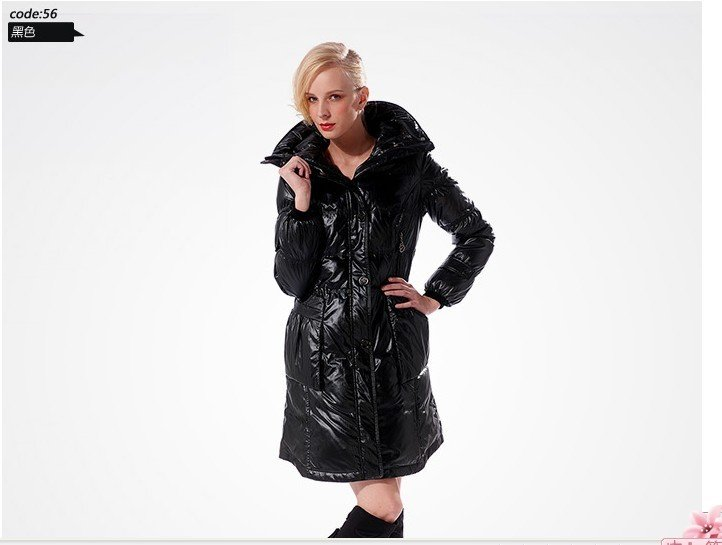 Free shipping down Feather rabbit hair fur collar women's Long sections down jacket outware clothes