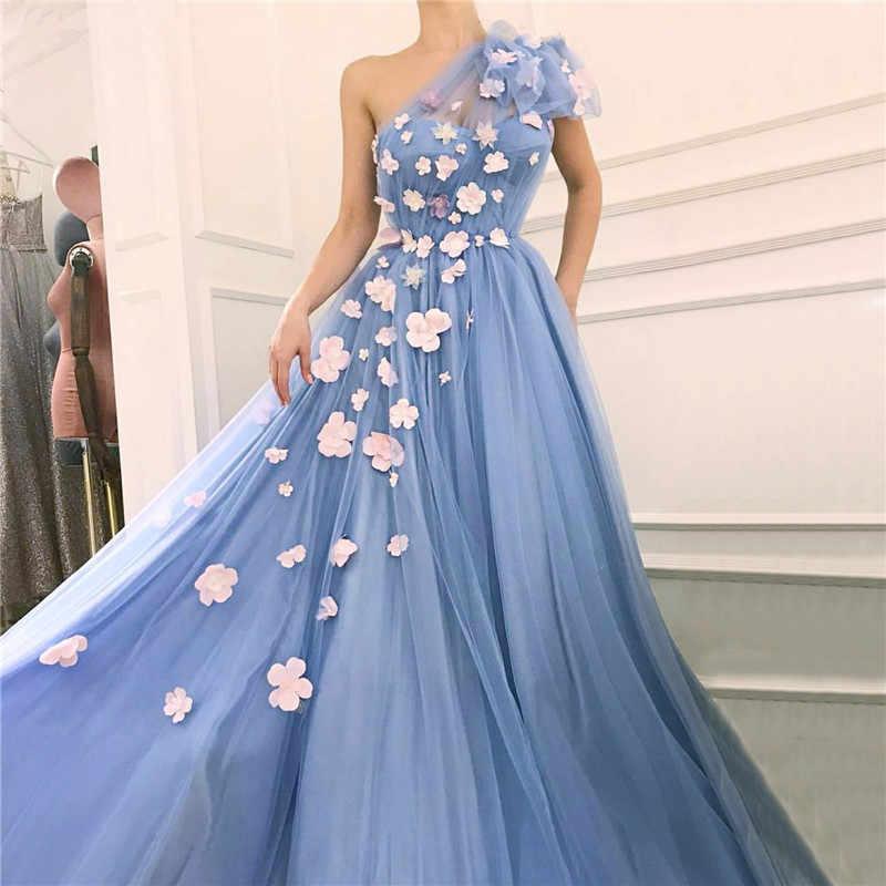 Janevini Dubai Designer Women Prom Dresses 2019 Long One Shoulder Sexy Beach Party Gowns Flowers Blue Evening Dress Robes De Bal Prom Dresses Aliexpress