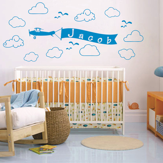 Aliexpresscom Buy Personalized Custom Name Plane Clouds Vinyl - Personalized custom vinyl wall decals for nurserypersonalized wall decals for kids rooms wall art personalized