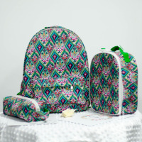 Canvas Combo Crown And Coral Lilly Backpack Set Plus Lunch Box Pencil Case Wholesale Elephant Backpack