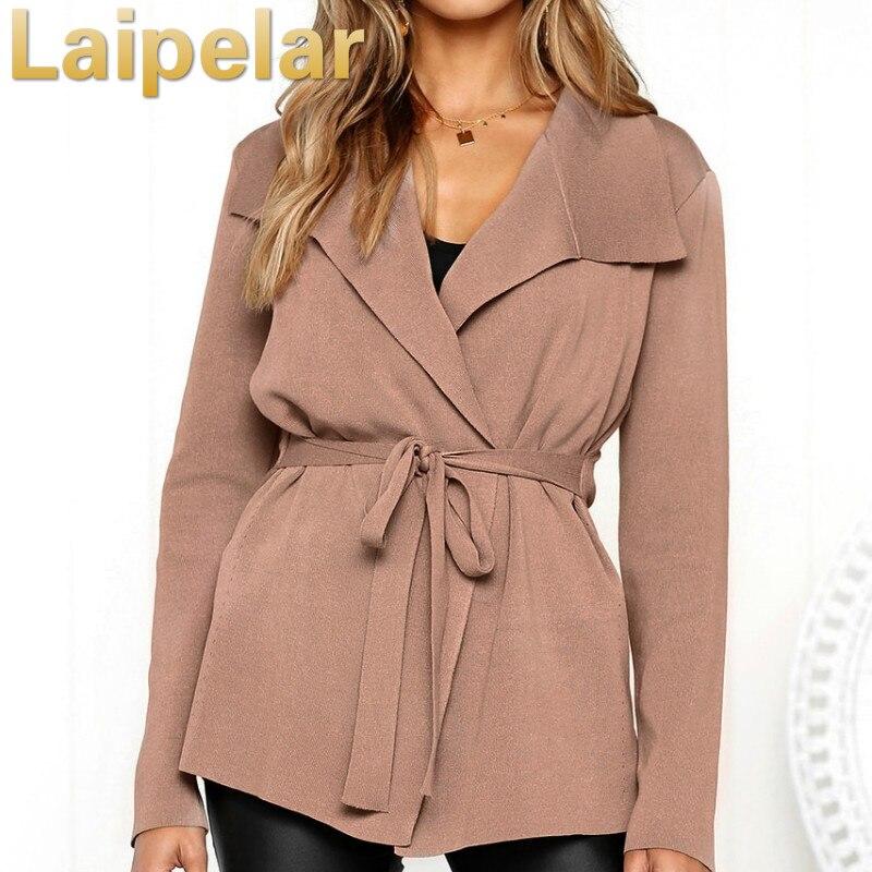 Women Autumn Lapel Coats Sweater Cardigan Jacket Solid Long Sleeve Slim Belt Straps Suit Women Basic Cardigans Laipelar Sweaters in Cardigans from Women 39 s Clothing