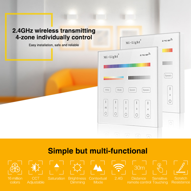 Milight T4 AC220V 4-Zone RGB+CCT Smart Panel <font><b>Remote</b></font> Controller brightness <font><b>dimmer</b></font> for <font><b>led</b></font> <font><b>strip</b></font> light Mi.light lamp or bulb image