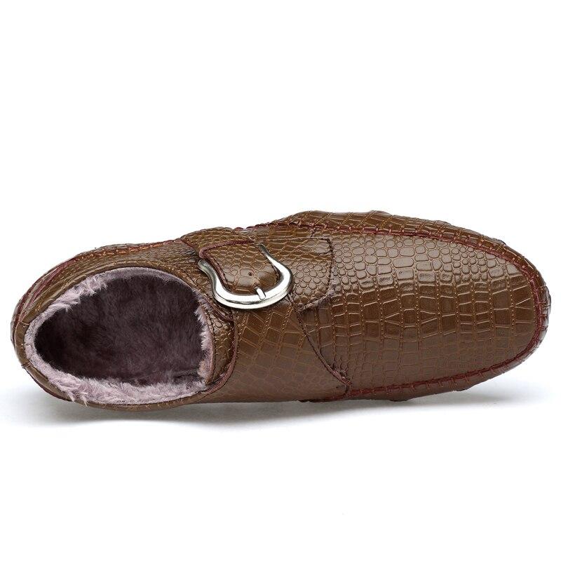 Outono Flats Size Condução Dos Fur With Mocassins De Black Crocodilo inverno No Casuais Sapatos Plus Couro Textura khaki Fur Homens 47 Genuína black Fur 38 5q4n074F6