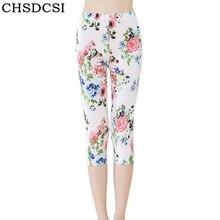 CHSDCSI High Waist Pants Push Up Leggings Girl Printed flowers Summer Cacual Legging Short Slim Fitness Jeggings Capris