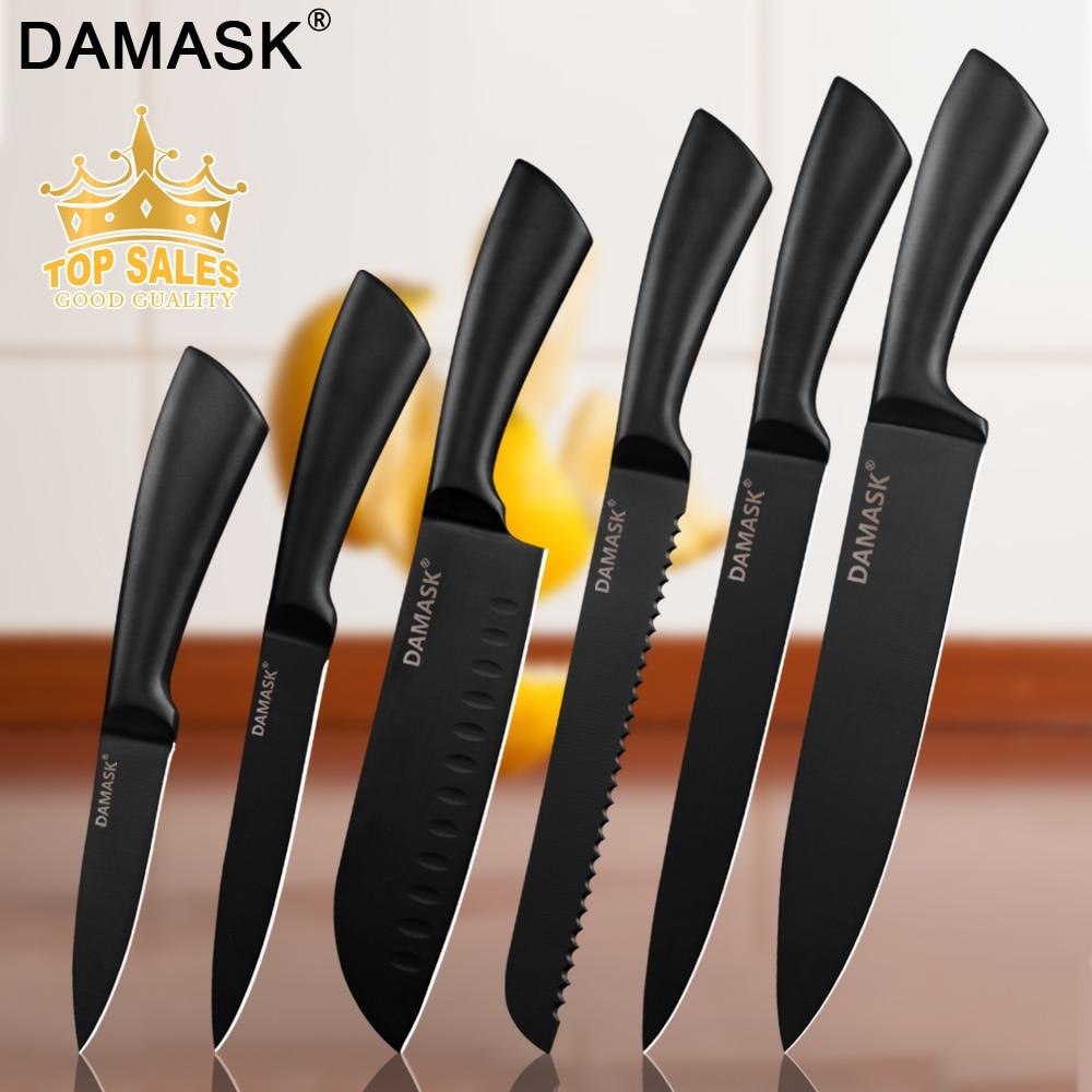 דמשק שף מטבח סכין 3Cr13 נירוסטה סכיני סט יפני מקצועי רב תפקודי מטבח בישול אבזרים