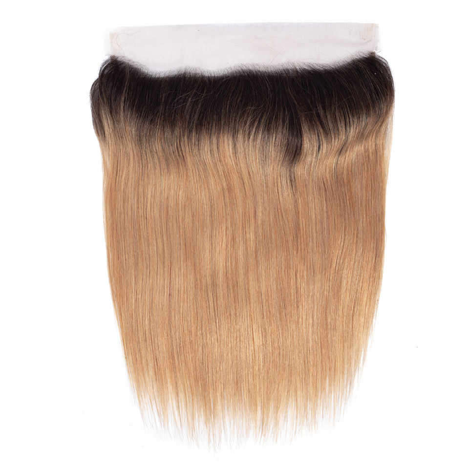 QUEENA Ombre proste włosy blond wiązki z Frontal zamknięcie 1B/27 peruwiański Prosto remy włosy splot zestawy koronki frontal i wiązki