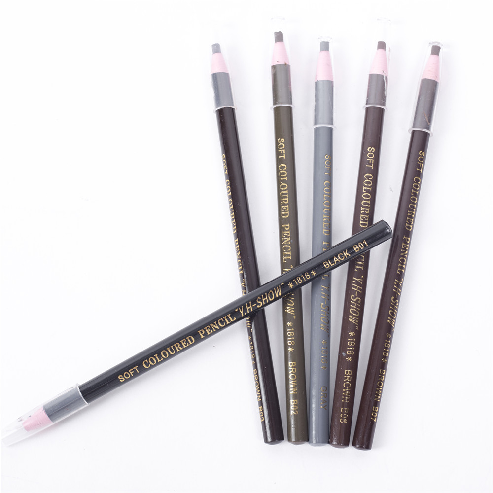 12 Colors Eyebrow Pencil Free Cutting Natural Long Lasting Black Brown Coffee Microblading Permanent Waterproof Eyebrow Make Up gosh eyebrow pencil