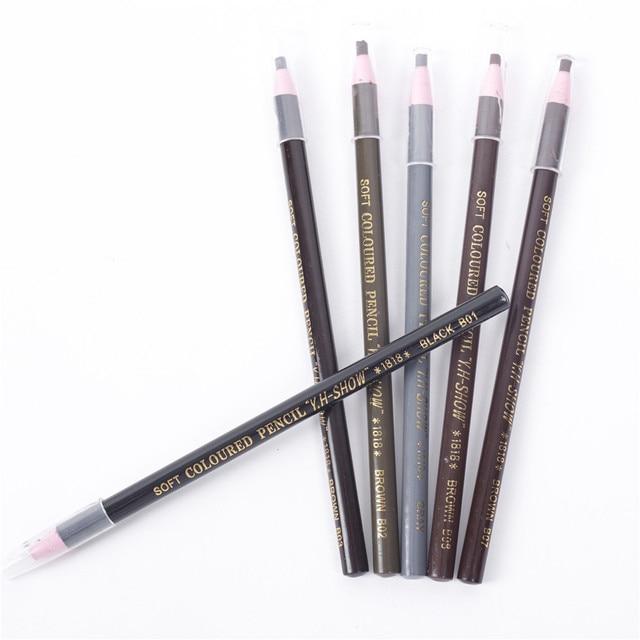 12 Pcs Eyebrow Pencil Free Cutting Natural Long Lasting Black Brown Coffee Microblading Permanent Waterproof Eyebrow Make Up