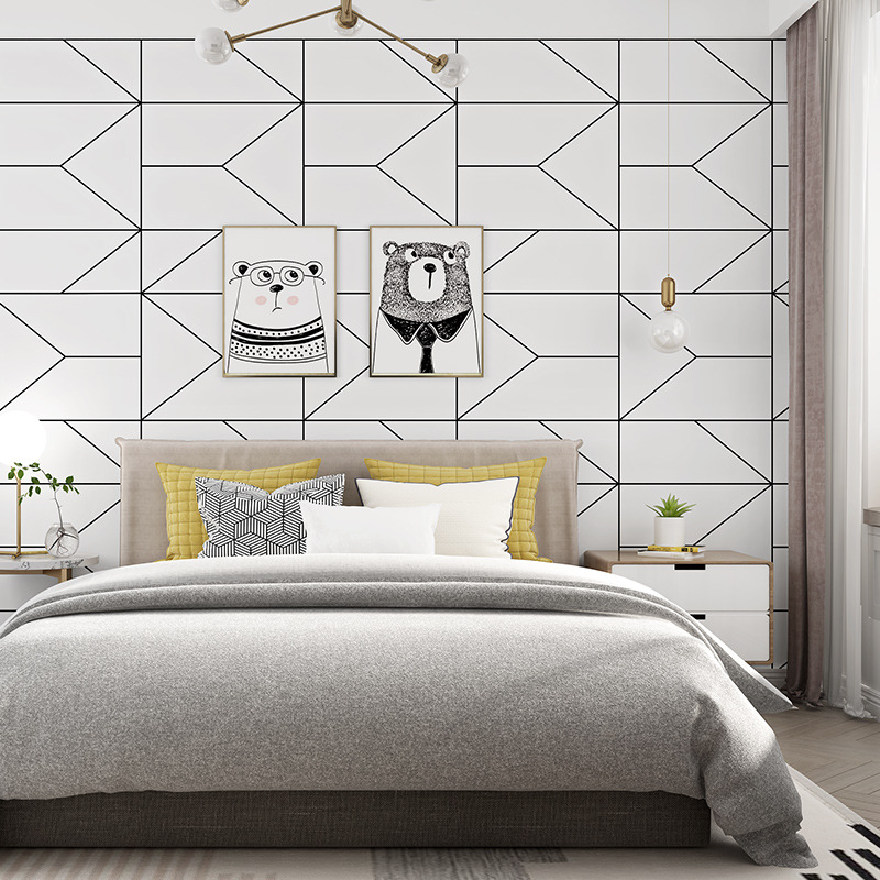 Nordic Black White Lines Wall papers home decor Minimalist Geometric Wallpaper roll for Living Room bedroom Wallls mural Nordic Black White Lines Wall papers home decor Minimalist Geometric Wallpaper roll for Living Room bedroom Wallls mural