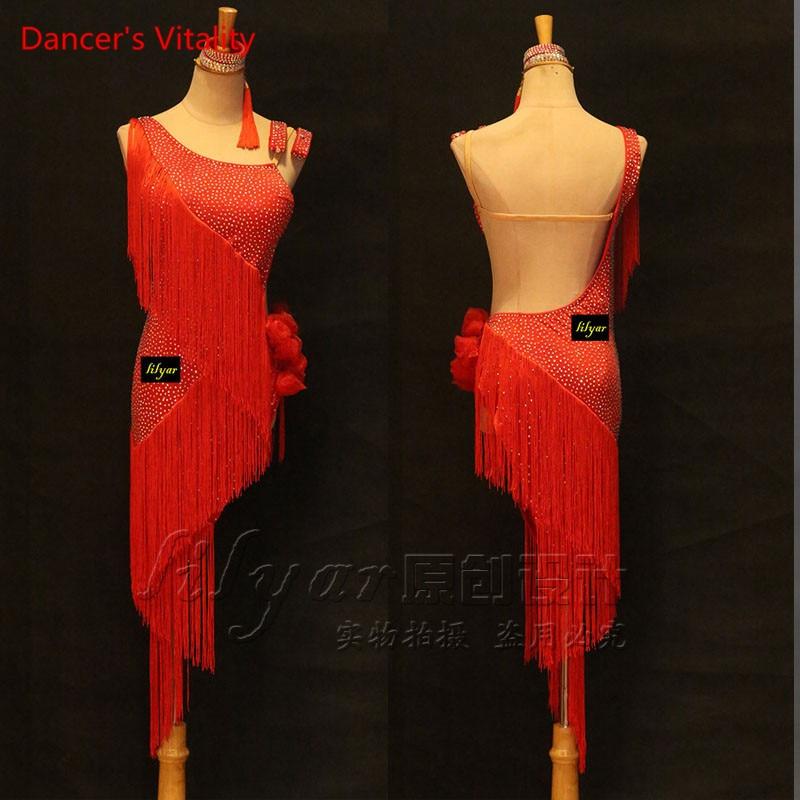 Custom Made Latin Dance Dress Women 2018 New Summer Sexy Classic Tassel Qia Qia Samba Latin Dance Competition Skirt Dreess