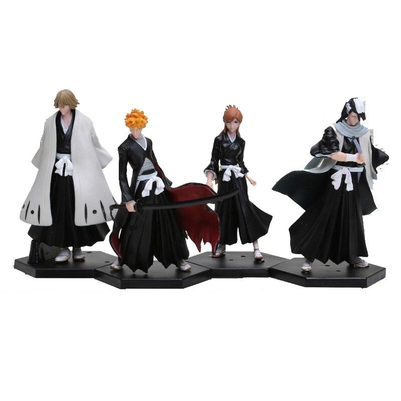Bleach Kurosaki Ichigo Kuchiki Byakuya PVC Action Figure Model Toy Doll 4pcs//set