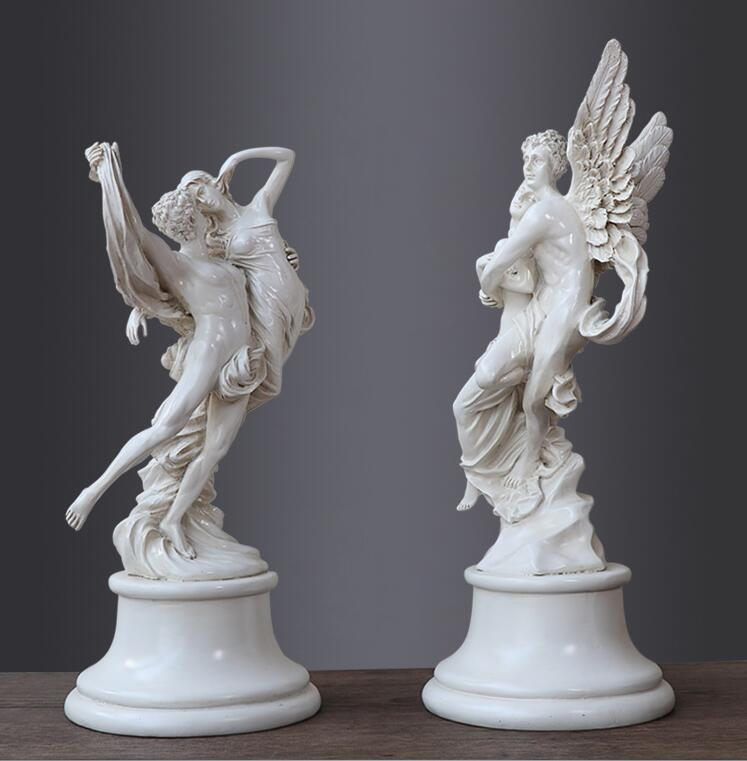 Ancient Greek mythology love character sculpture, modern resin angel crafts, lover statue home decorations wedding birthday gift