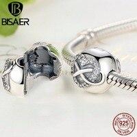 925 Ayar Gümüş Infinity Kalp Yay Düğüm Temizle CZ Klip Charms Fit BISAER Charm Gümüş 925 Bilezik & Bileklik Takı WEUS374