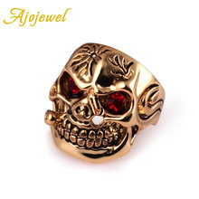 Ajojewel Size 8-10 Gold-color Mens Skull Rings With Red Crystal Eyes Anillo Cristal Rojo Punk(China)