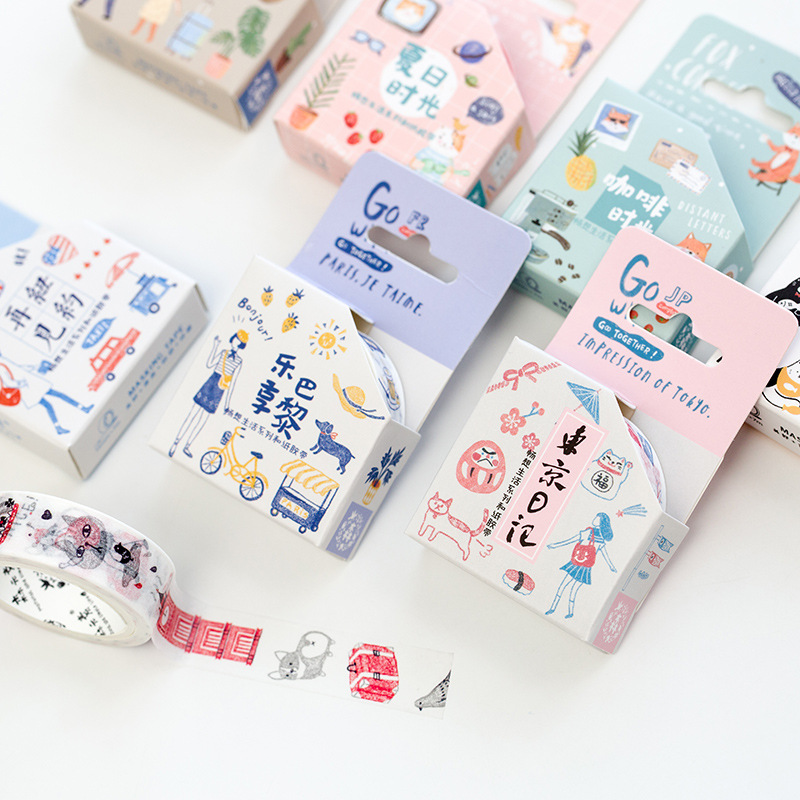 Happy life paper washi tape set 15mm*7m masking decoration tapes Go Travel Cute cat stickers Scrapbooking School supplies A6787 12pcs lot vegetab fruit plant paper masking tape japanese washi tapes set 3cm 5m stickers kawaii school supplies papeleria 7161