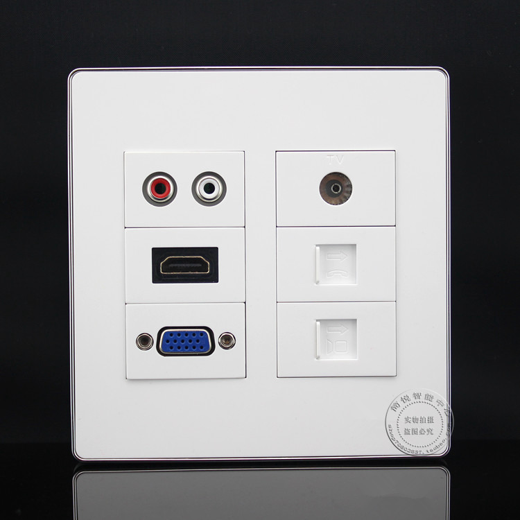 120MM Wall Socket Plate Network RJ45 Cat5e & TV & RJ11 Cat3 & RCA AV & HDMI & VGA Socket Panel Faceplate Outlet 86x86mm single double port rj45 thick wall plate faceplate wall mount installation with rj45 & rj11 keystone socket outlet