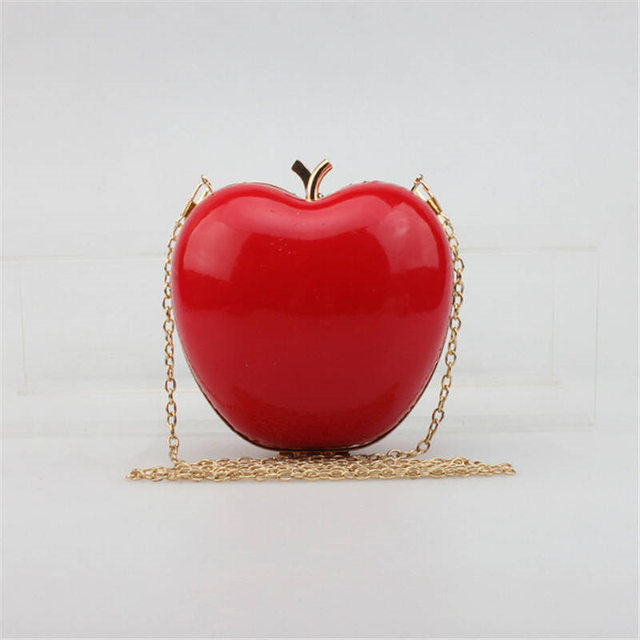 New 2016 Fashion Women Apple Shaped Evening Bags Party Wedding Bridal Clutch Purses Chain Shoulder Bags Banquet Sac A Main Li707