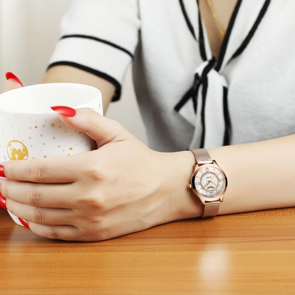 GUANQIN Women Watches Fashion Casual Quartz Watch Gold Women Bracelet Watch Stainless Steel Strap relogio feminino famous brand  (3)
