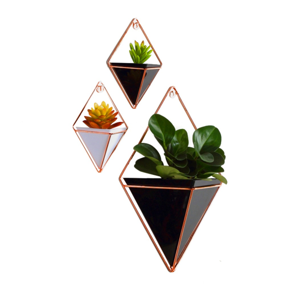 Planter Container Flower-Pot Iron-Plant-Holders-Set Geometric-Vase Wall-Decor Acrylic title=