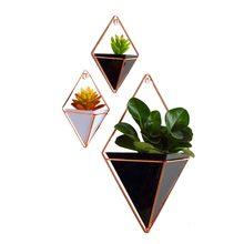 Acrylic flower Pot + Iron Plant Holders Set Indoor Hanging Planter Geometric Vase Wall Decor Container Succulents Plant Pots(China)