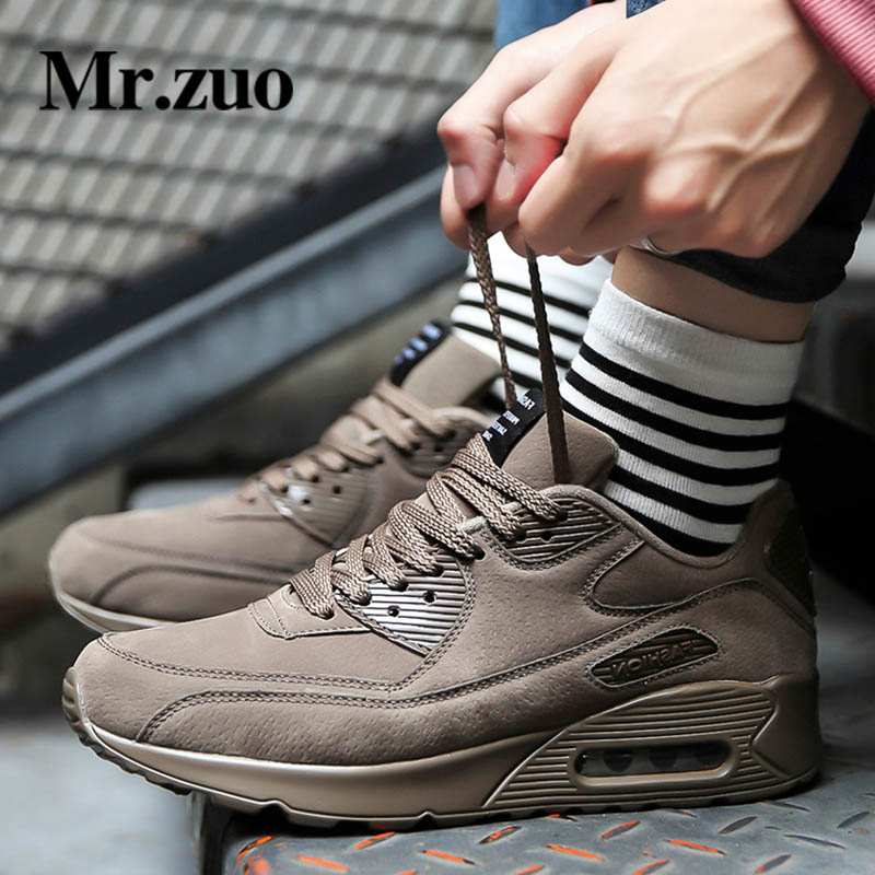 Winter Men Sneakers 2017 Running Shoes Pig Suede Leather Sports Athletic Shoes Professional Sneakers Gym Shoes Jogging Air shoes man sneakers sports shoes leather running shoes black red jogging sneakers training shoes autumn winter running trainers