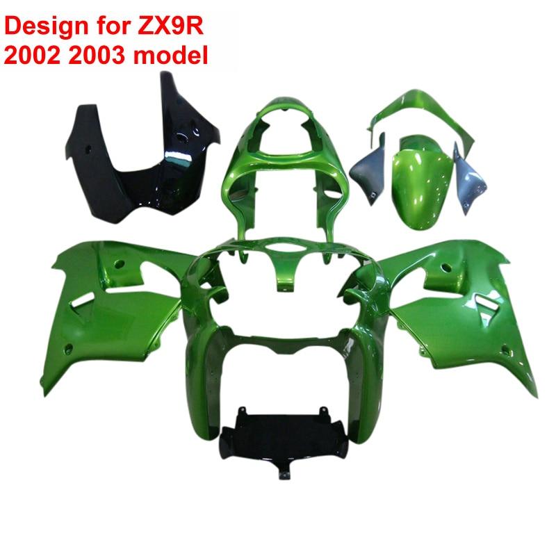 Высокое качество обтекатели для Kawasaki ZX9R ниндзя ZX 9r с 2002 2003 02 03 металлический зеленый ABS обтекатель комплект xl07