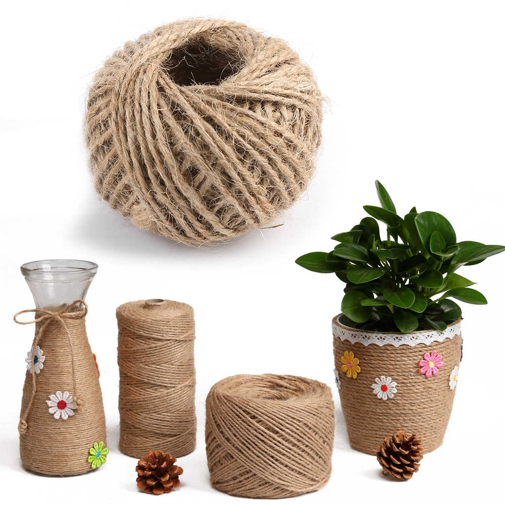 1Rolls 30M Natural Brown Hemp Rope DIY Tag Label Hang Rope Wedding Home Accessories Decorative Twine Jute String Gardening Cord