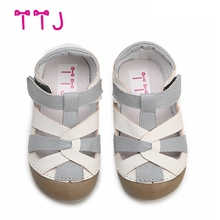 TTJ Children leather shoes Style Of Fashion Casual Boys Girls For Baby Shoes kids Anti-Slip Children Sandals  free shippin